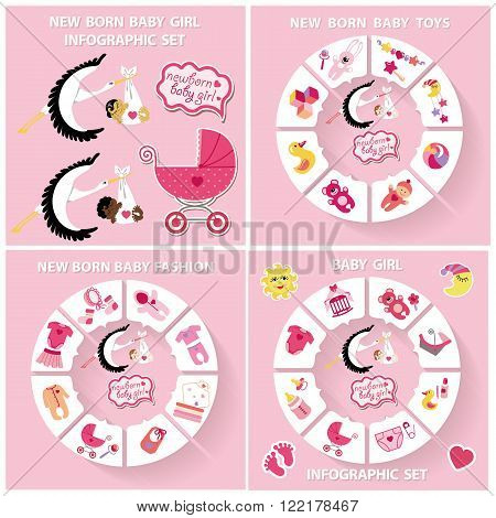 New born Babygirl cute infographic set with flat icons in flat style.Vector circle business concepts.For loop business report or plan, education template, business brochure, system diagram