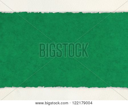 A textured green paper background with white deckled edge watercolor paper borders.