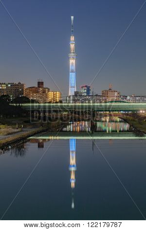 TOKYO,JAPAN - DEC 28 ,2015 : The Tokyo Skytree is a new television broadcasting tower and landmark of Tokyo. It is the centerpiece of the Tokyo Skytree Town in the Sumida City Ward.