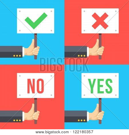 Set of hands holding different signs. Success, satisfaction, disagreement, protest, elections concepts. Flat graphic elements for web banners, web design, web sites, infographics. Vector illustration
