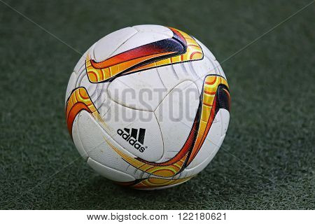 LVIV, UKRAINE - March 10, 2016: Official UEFA Europa League season ball on the grass during UEFA Europa League Round of 16 game FC Shakhtar Donetsk vs RSC Anderlecht at Arena Lviv stadium in Lviv
