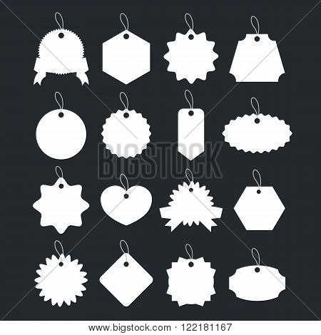 White price tags with knotted ropes, blank gift labels, sale labels, gift cards set. Trendy graphic design elements. Vector illustration isolated on black background