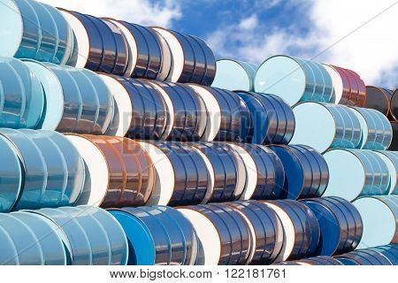 Stack of Oil barrels at oil refinery area