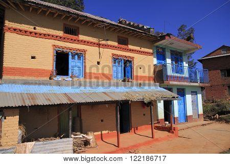 Colorful old farmer house in Kathmandu Valley Nepal