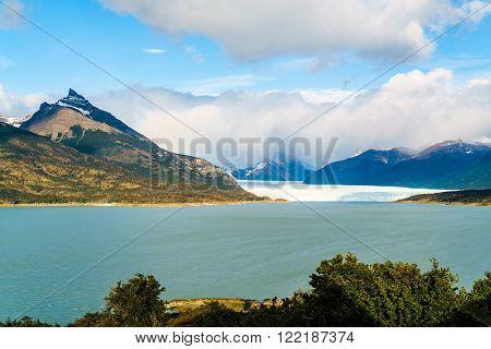 View of Perito Moreno Glacier from Curva de los Suspiros in Argentina
