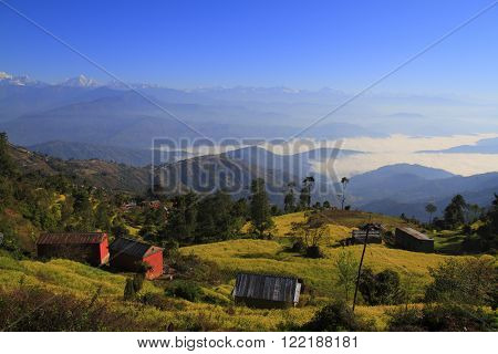 Above the clouds in a small Nepalese town Nagarkot