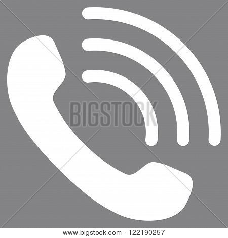 Phone Call vector icon. Picture style is flat phone call icon drawn with white color on a gray background.