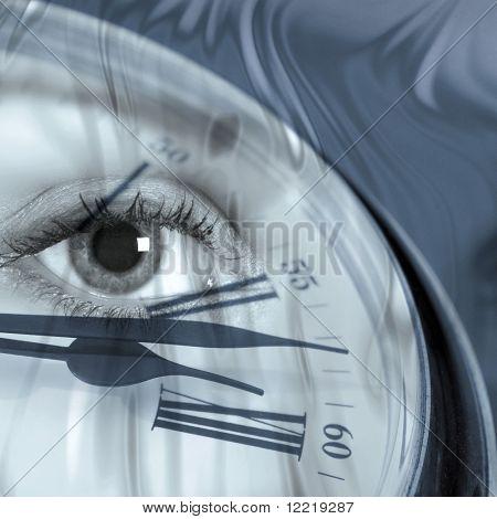 Closeup of clock face overlaid with female eye