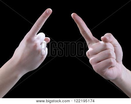 Sign Language hands on a black background