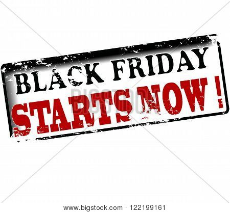 Rubber stamp with text black friday starts now inside vector illustration