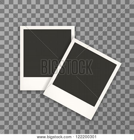 vintage photo frame with shadow on transparent background