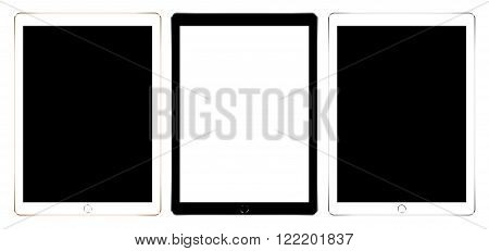 mock up digital tablet like in ipades style collection set isolated on white vector design