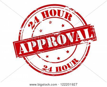 Rubber stamp with text twenty four hour approval inside vector illustration