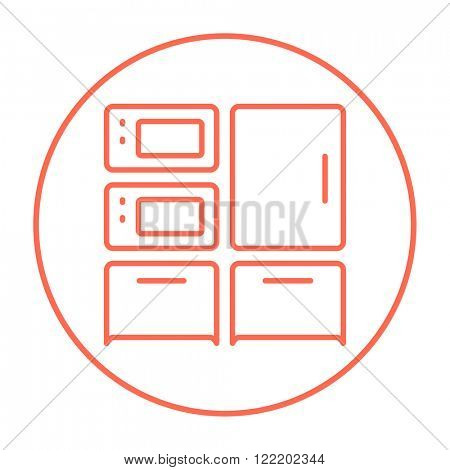 Household appliances line icon.