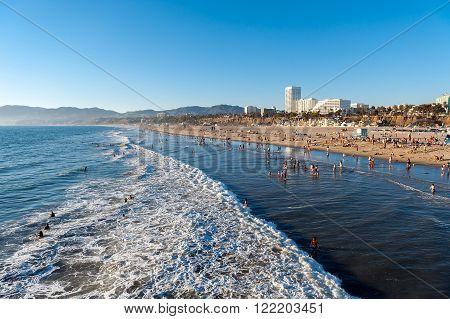 Santa Monica beach at sunset Los Angeles California USA