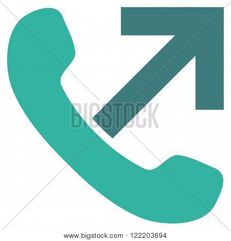 Outgoing Call vector icon. Picture style is bicolor flat outgoing call icon drawn with cobalt and cyan colors on a white background.