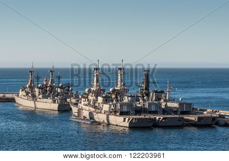 Valparaiso, Chile - December 4, 2012: Chilean Navy vessels in the Port of Valparaiso, Chile.