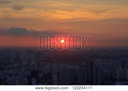 Panorama of Singapore skyline with skyscrapers at sunset