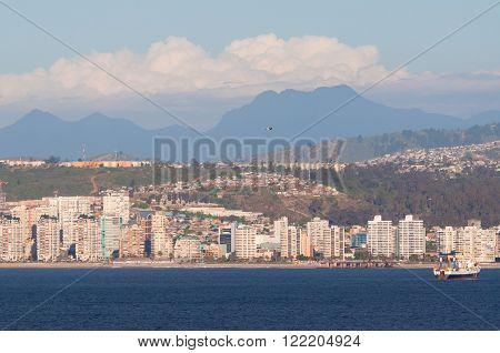 Valparaiso Chile - December 4 2012: The coastline of Valparaiso Chile.