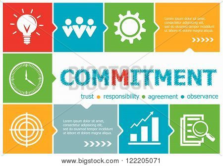 Commitment design illustration concepts for business consulting management career. Commitment concepts for web banner and printed materials. poster