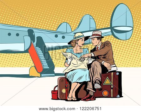 Tourists couple looking at the map, after landing pop art retro style. The airport and the plane. The tourist route. Attractions and navigation. Foreign tourists