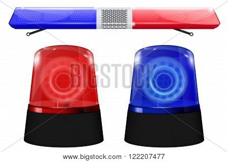 Police car sign. Emergency lights. Blue and red siren. Vector illustration isolated on white background