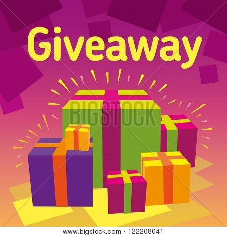 Vector image Giveaway red background. Competition for subscribers. Social networks