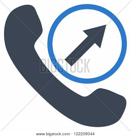 Outgoing Call vector icon. Picture style is bicolor flat outgoing call icon drawn with smooth blue colors on a white background.