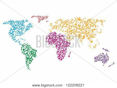 Colorful Abstract Creative World map on white background
