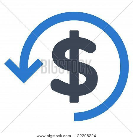 Rebate vector icon. Picture style is bicolor flat refund icon drawn with smooth blue colors on a white background.