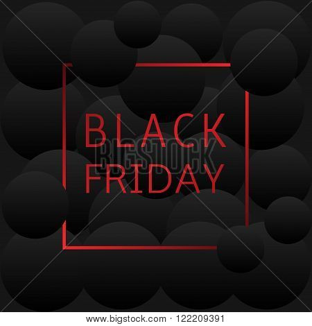 Red black friday text on black abstract background