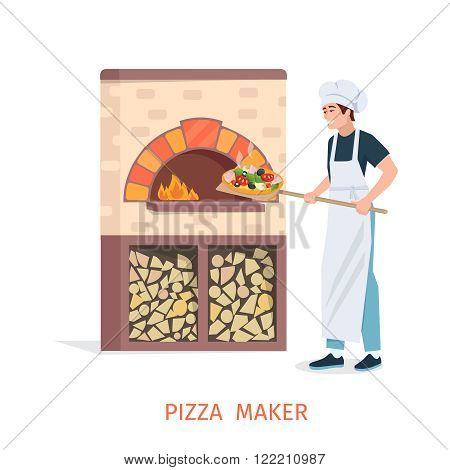 Pizzaiolo pulls out the finished pizza from the stone oven with fire. Pizzaiolo flat. Young man on pizzaiolo profession. Cooking pizza vector illustration.