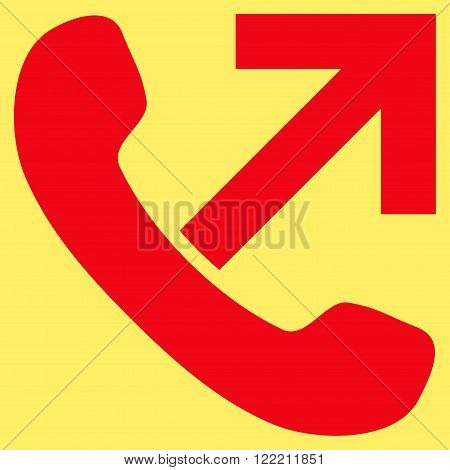 Outgoing Call vector icon. Picture style is flat outgoing call icon drawn with red color on a yellow background.