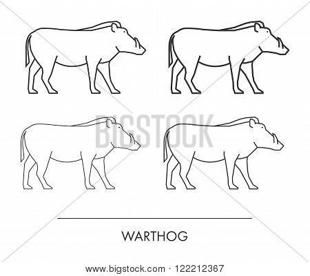 Outline warthog on a white background. Vector modern silhouette warthog.
