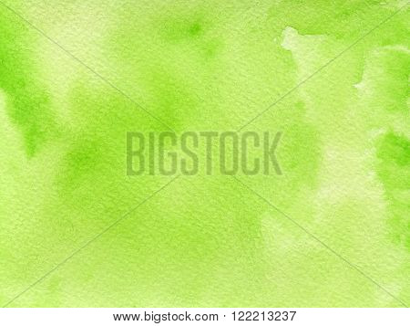 Hand drawn watercolor background with eco friendly fresh green color.. Hand painted colorful element for modern design.