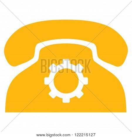 Phone Preferences vector icon. Picture style is flat phone settings icon drawn with yellow color on a white background.