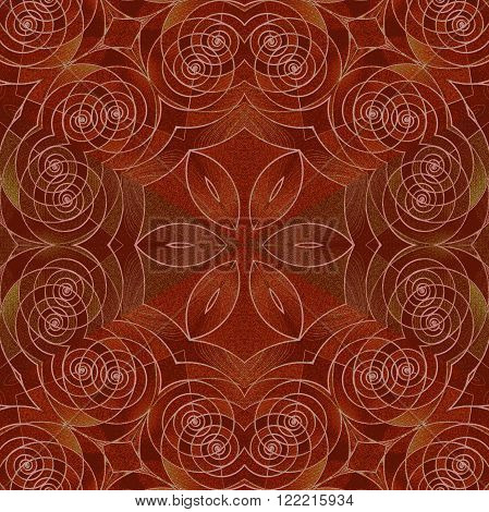 Abstract geometric seamless background. Ornate and delicate floral pattern with spiral elements in red brown shades. Antique wood paneling, marquetry.
