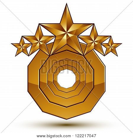 Vector Classic Emblem Isolated On White Background. Aristocratic Golden Stars, Clear Eps 8.