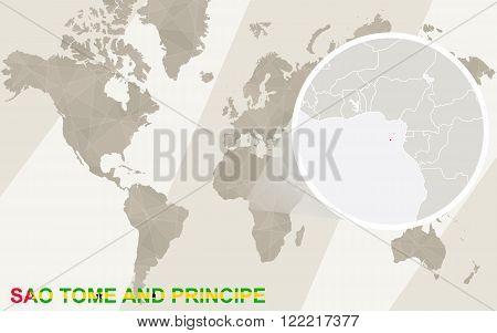 Zoom On Sao Tome And Principe Map And Flag. World Map.