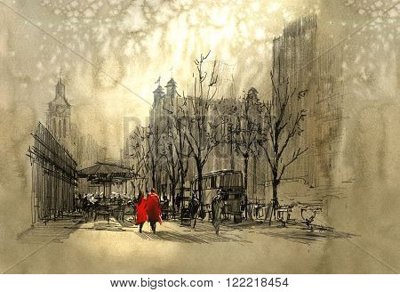 couple in red walking on street of city, freehand sketch
