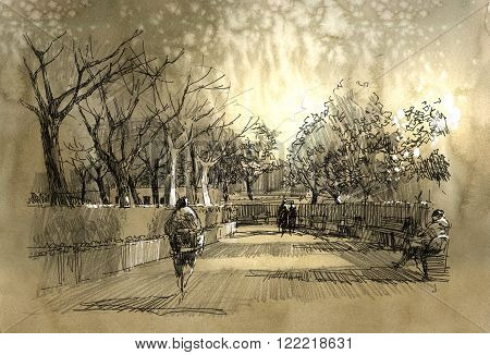 freehand sketch of city park walkway, illustration