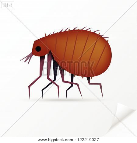 Cartoon brown insect flea in material style.