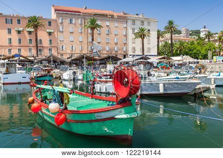 Colorful Fishing Boats Moored In Old Port