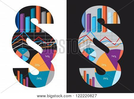 Paragraph symbol  with charts and numbers symbolizing Law and Economics. Isolated variants on the white and black background. Vector available.