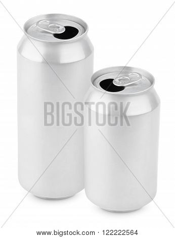 Two opened aluminum cans of beer isolated on white with clipping path