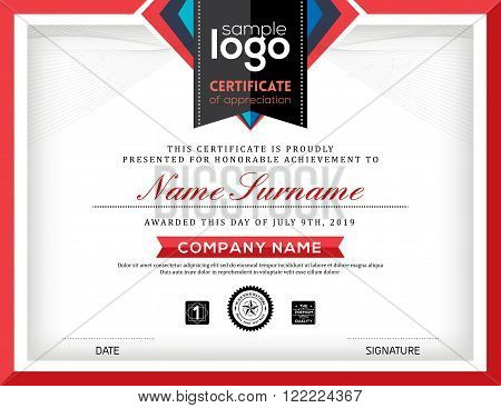 Modern certificate abstract graphic background frame design template
