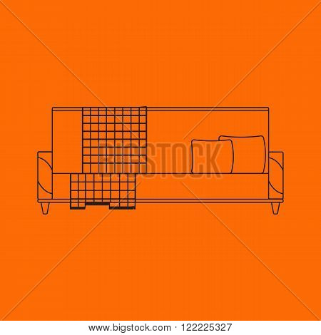 Vector illustration of sofa in outline flat icons