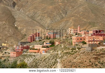 Moroccan village in Dades Valley, Morocco, Africa poster