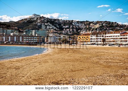 Peniscola beach. Costa del Azahar province of Castellon Valencian Community. It is a popular tourist destination in Spain