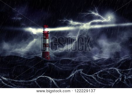 Stormy Sea And Lighthouse